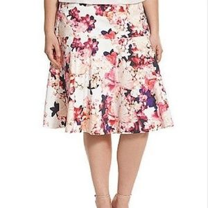 Lane Bryant Pink Floral Flare Skirt Plus Size 28